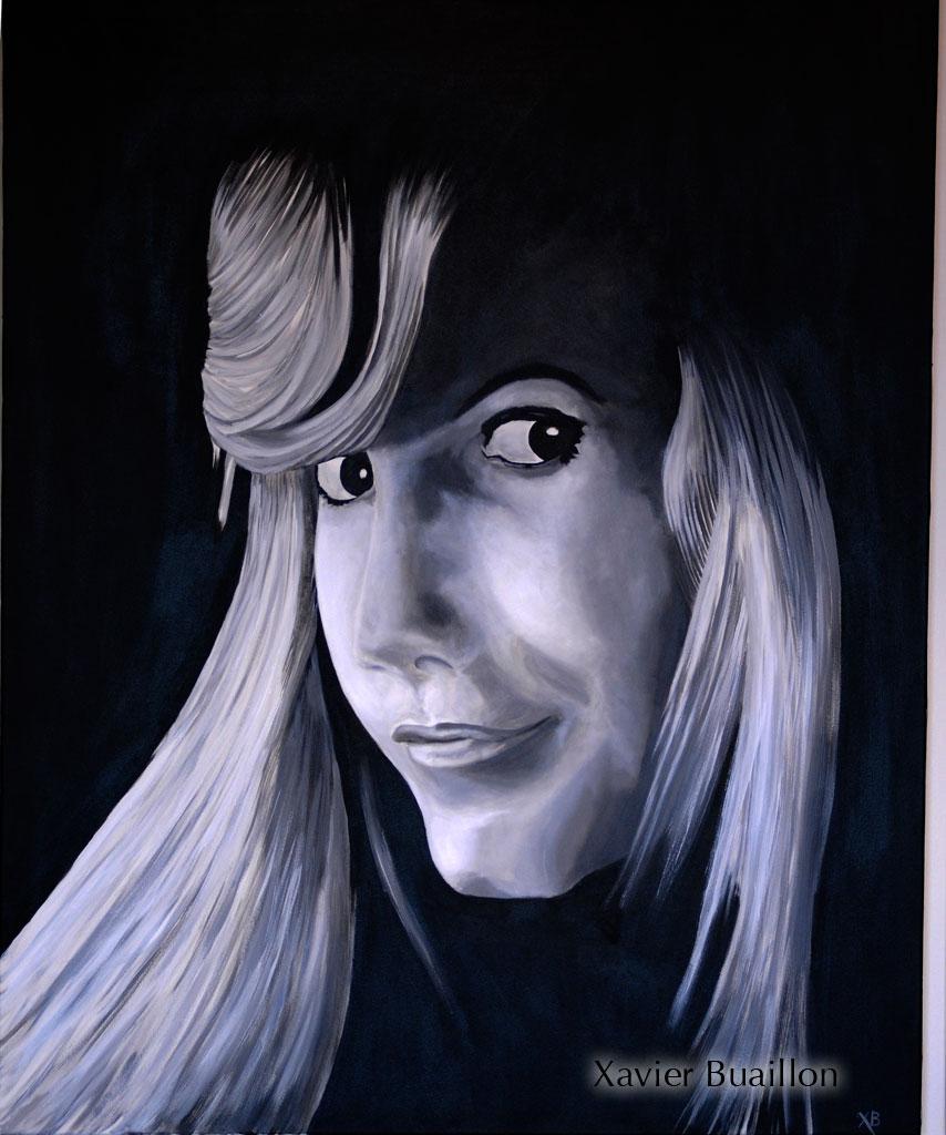 Portrait en noir et blanc d 39 une jeune fille for Tableau portrait noir et blanc